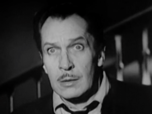 Robert Morgan (Vincent Price) stares, shocked, with wide eyes, in The Last Man On Earth.