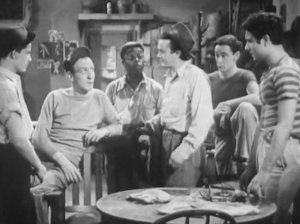 "The East Side Kids discuss Danny's fate in their clubhouse. (l. to r.: Stanley Clements, Huntz Hall, ""Sunshine Sammy"" Morrison, Leo Gorcey, David Gorcey and Bobby Stone)"